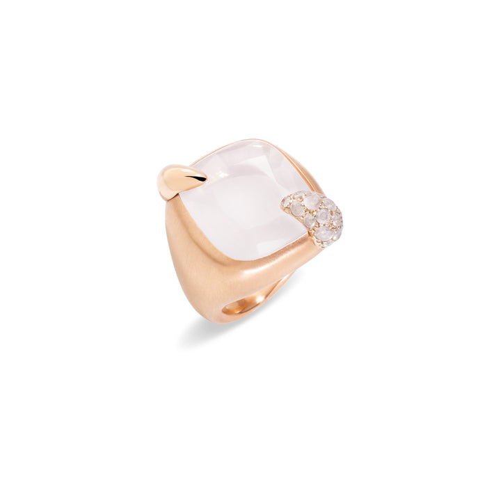 Ritratto Ring in 18k Rose Gold with White Quartz and Diamonds