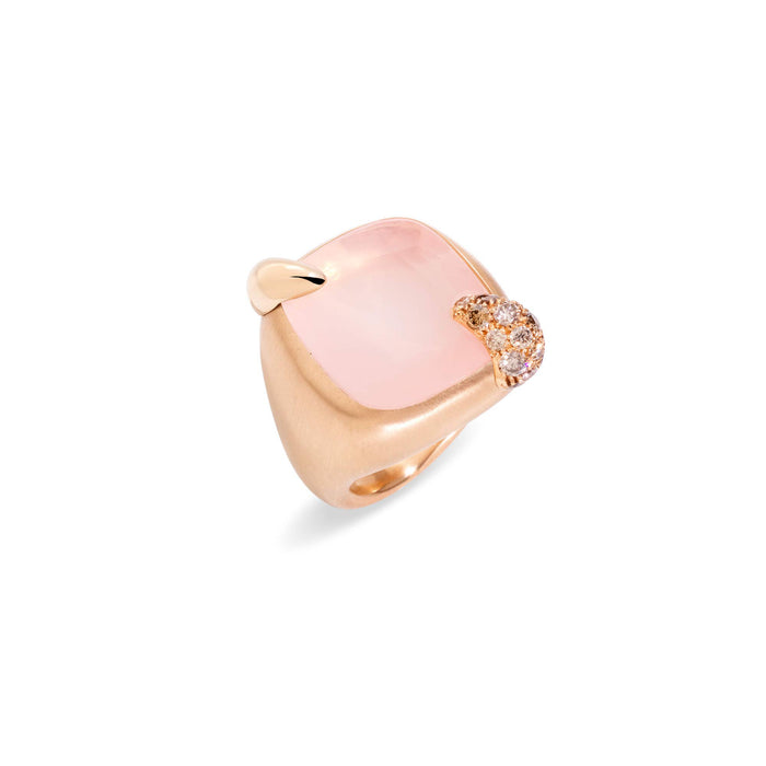 Ritratto Ring in 18k Rose Gold with Pink Quartz and Brown Diamonds