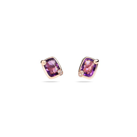 Ritratto Earrings in Rose Gold with Amethyst and Diamonds