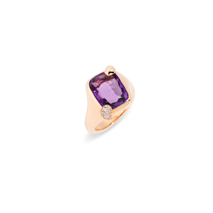 Ritratto Small Ring in Rose Gold with Amethyst and Diamonds