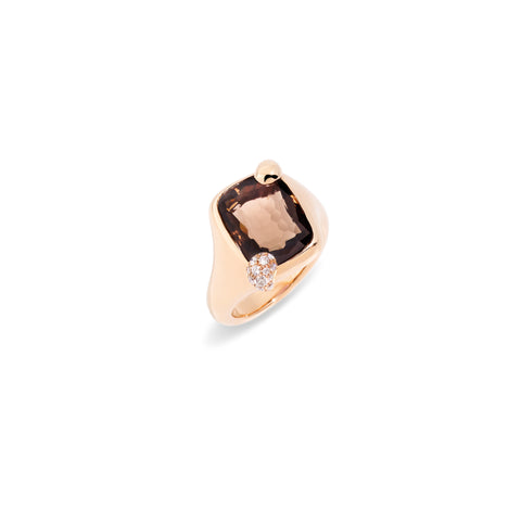 Ritratto Small Ring in Rose Gold with Smokey Quartz and Diamonds