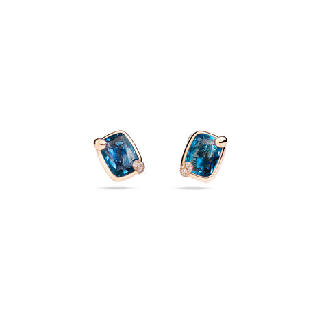 Ritratto Earrings in 18k Rose Gold with London Blue Topaz and Diamonds