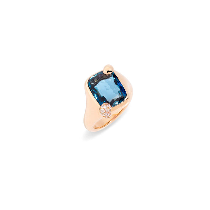 Ritratto Small Ring in Rose Gold with London Blue Topaz