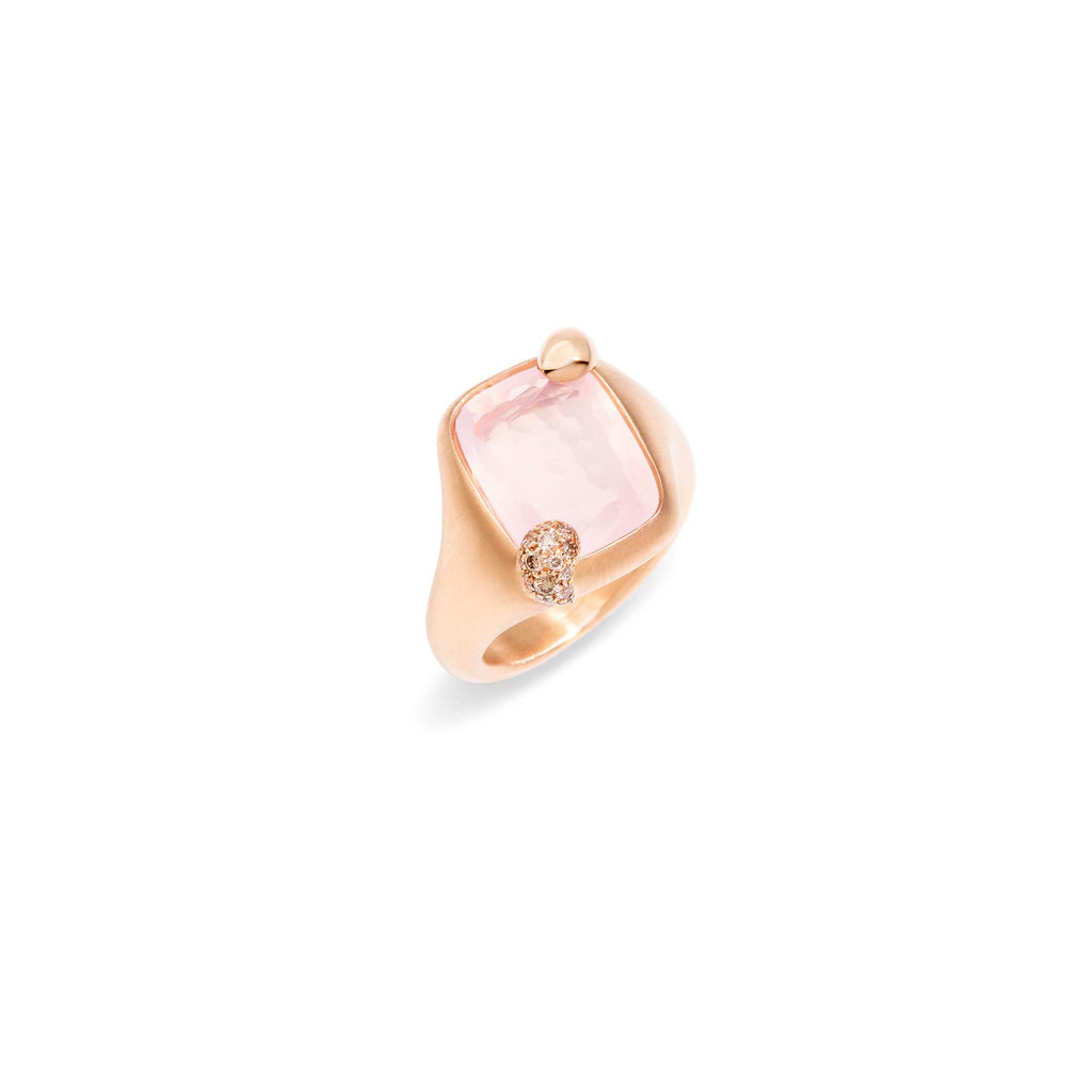 Ritratto Small Ring in Rose Gold with Rose Quartz and Brown Diamonds