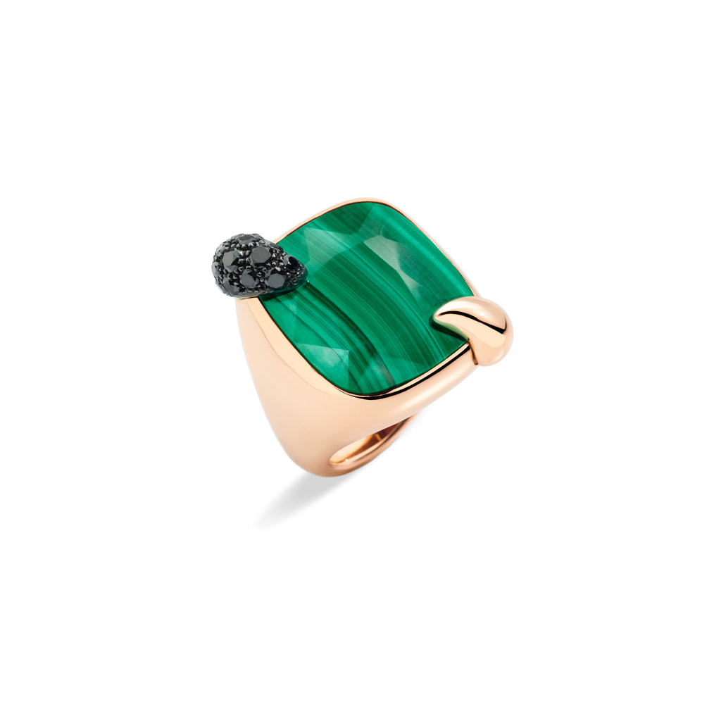 Ritratto Ring in Rose Gold with Malachite and Black Diamonds
