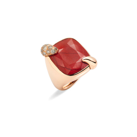 Ritratto Ring in Rose Gold with Red Jasper and Diamonds