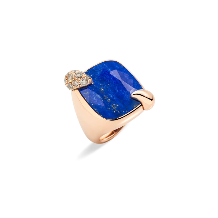 Ritratto Ring in Rose Gold with Lapislazuli and Brown Diamonds