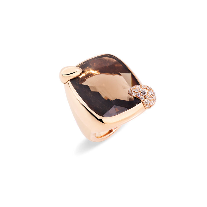 Ritratto Ring in Rose Gold with Smokey Quartz and Diamonds