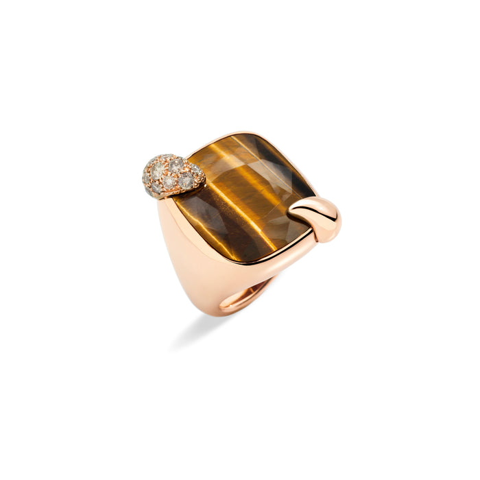Ritratto Ring in Rose Gold with Tiger Eye and Brown Diamonds
