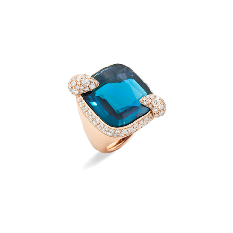 Ritratto Ring In Rose Gold with London Blue Topaz and Diamonds