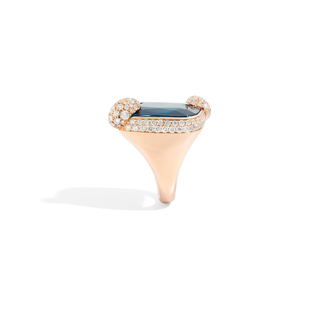 Ritratto Ring in 18k Rose Gold with London Blue Topaz and Diamonds