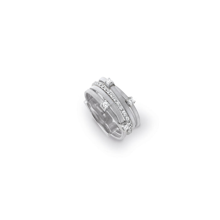 Five strand goa ring with diamonds