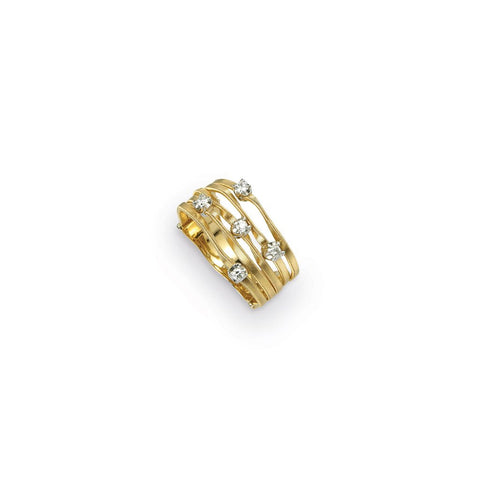 Mini Marrakech five stranded twisted gold ring with five diamonds