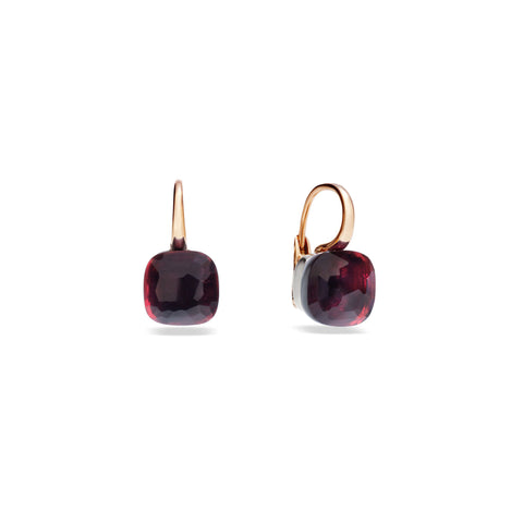 Large Nudo Earrings in Rose Gold and White Gold with Garnet