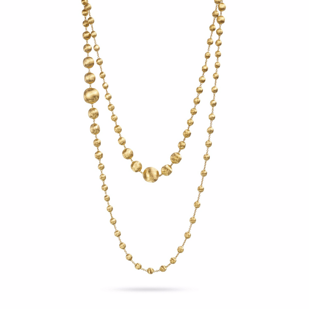 Africa 18k Gold Ball Graduated Longest Length 120cm Necklace
