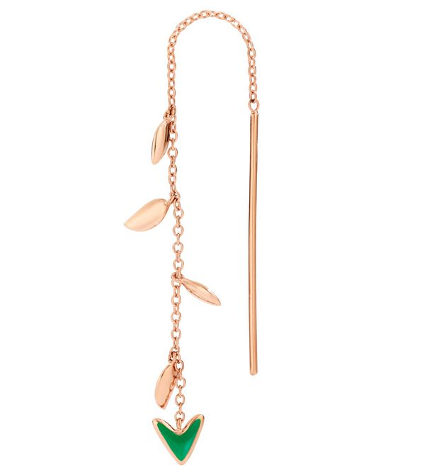 DoDo Earring Arrow in 9k Rose Gold with Green Enamel