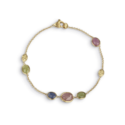 Siviglia 18k Gold Single Strand Spaced Sapphire Gemstone Bracelet