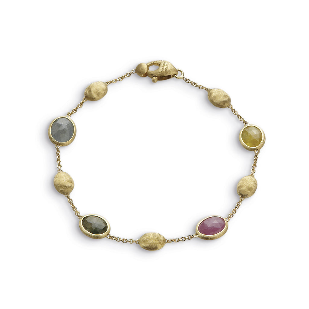 Siviglia Spaced 18k Gold Ball & Sapphire Gemstone Bracelet