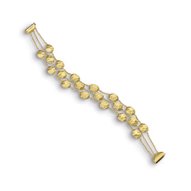 Siviglia 18k Gold Ball Three Strand 19cm Bracelet