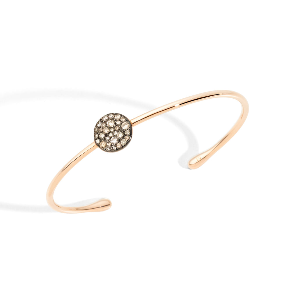 Bracelet in Rose Gold with Off-Center Burnished Rose Gold and Brown Diamonds (CT 0.382)