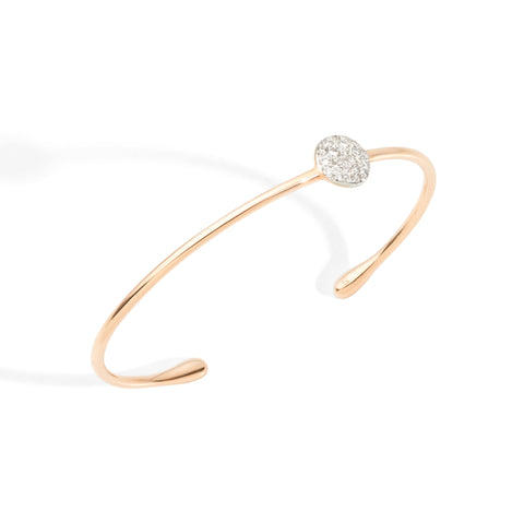 Bracelet in Rose Gold with Off-Center Rhodium-Plated Rose Gold and Diamonds (CT 0.238)