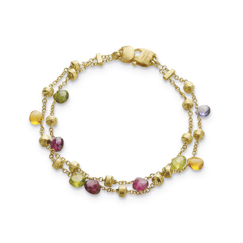 Paradise 18k Gold Two Strand Gemstone Bracelet