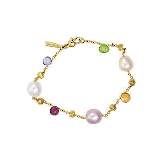 Simple pearl and gemstone gold bracelet