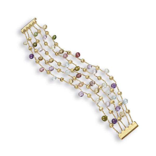 Paradise 18k Gold Five Strand Gemstone Bracelet