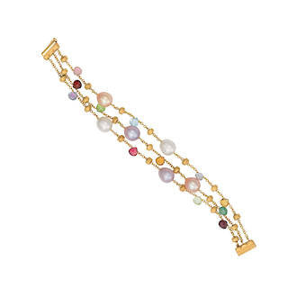 Three strand pearl and gemstone gold bracelet