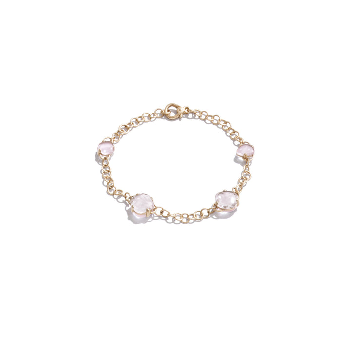 Bracelet in Matt Rose Gold with Pink Quartz and Rock Crystal