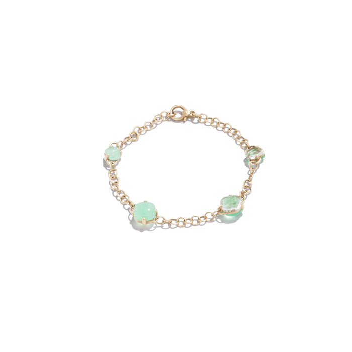 Capri Bracelet in 18k Rose Gold with Rock Crystal and Chrysoprase