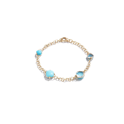 Bracelet in Matt Rose Gold with Turquoise and Rock Crystal