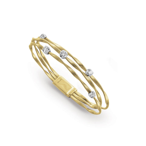 Marrakech 18k Gold Three Strand Large Diamond Bracelet