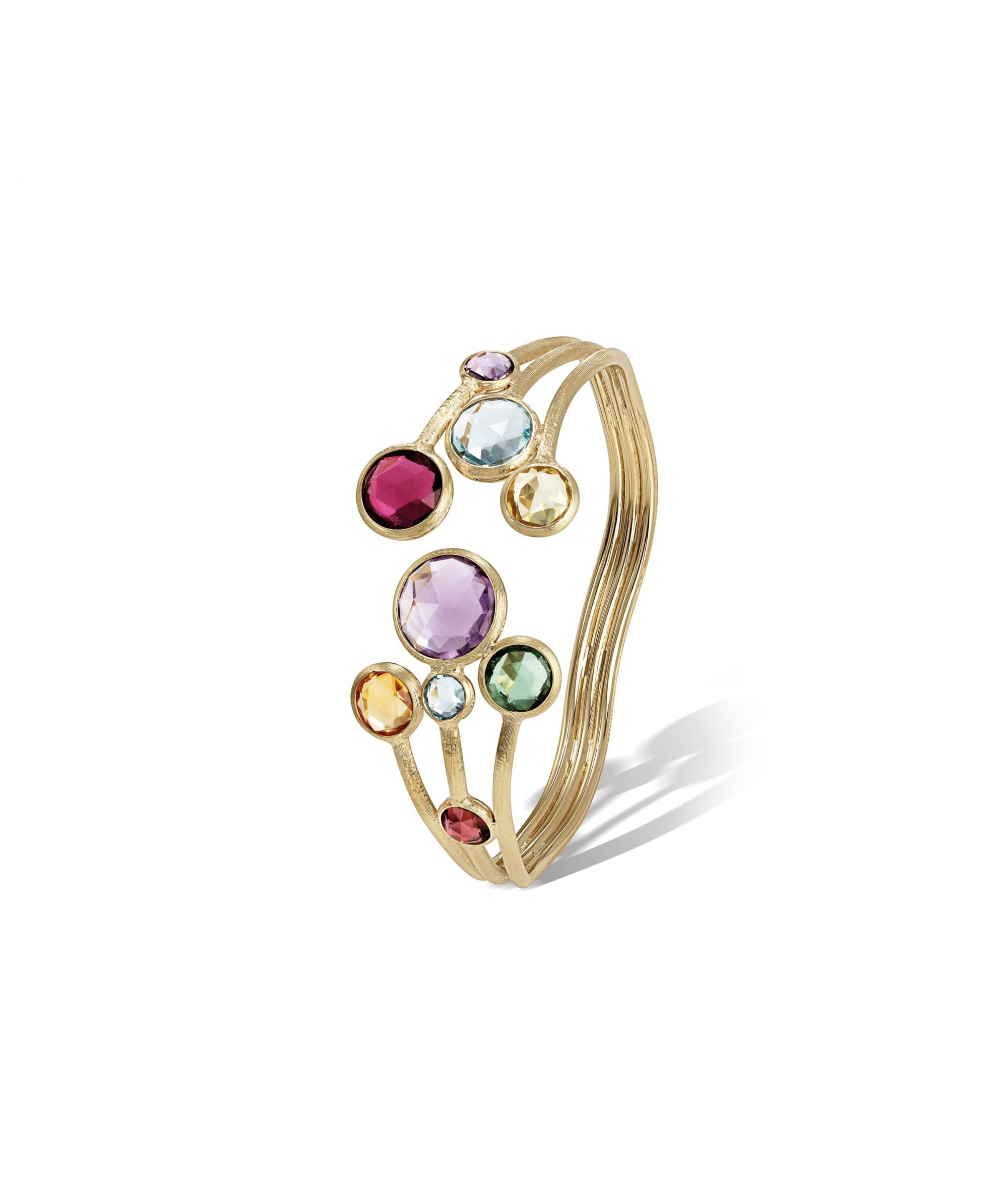 Jaipur Colour Bangle in 18k Yellow Gold with Mixed Gemstones Three Strand - Orsini Jewellers NZ
