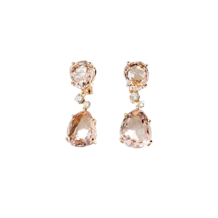 Bahia Earrings in 18k Rose Gold with Morganite and Diamonds