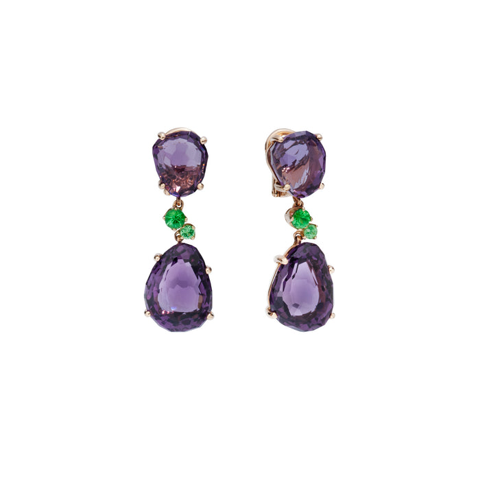 Bahia Earrings in 18k Rose Gold with Amethyst and Tsavorites