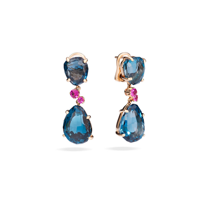 Bahia Earrings in 18k Rose Gold with London Blue Topaz and Pink Sapphires