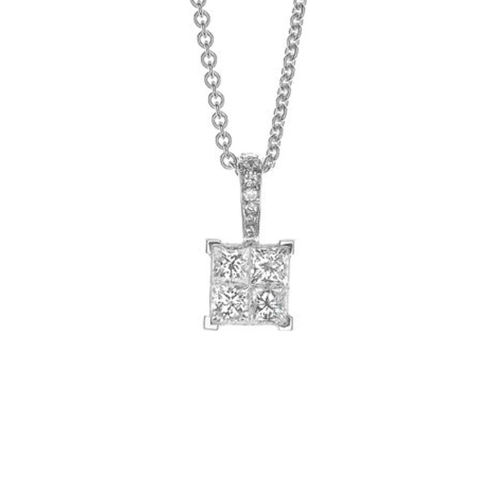 Belluci Quadrato Diamond Princess Cut Pendnat