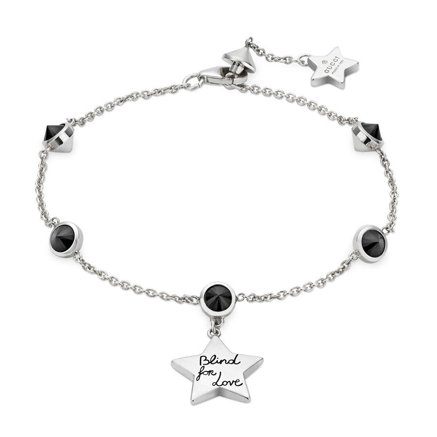 Gucci Blind for Love Bracelet in Sterling Silver with Black Spinel - Orsini Jewellers NZ
