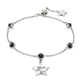 Gucci Blind for Love Bracelet in Sterling Silver with Black Spinel