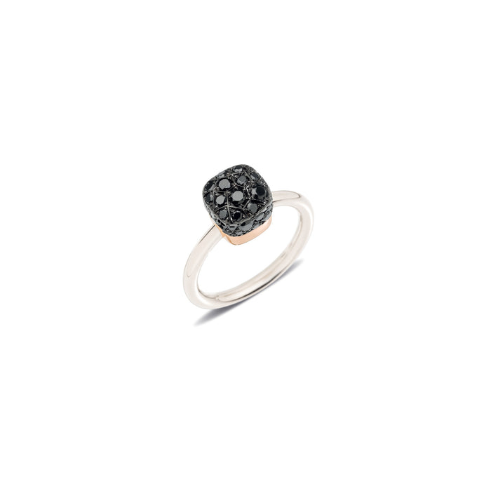 Nudo Petit Ring in 18k White Gold and Rose Gold with Black Diamonds