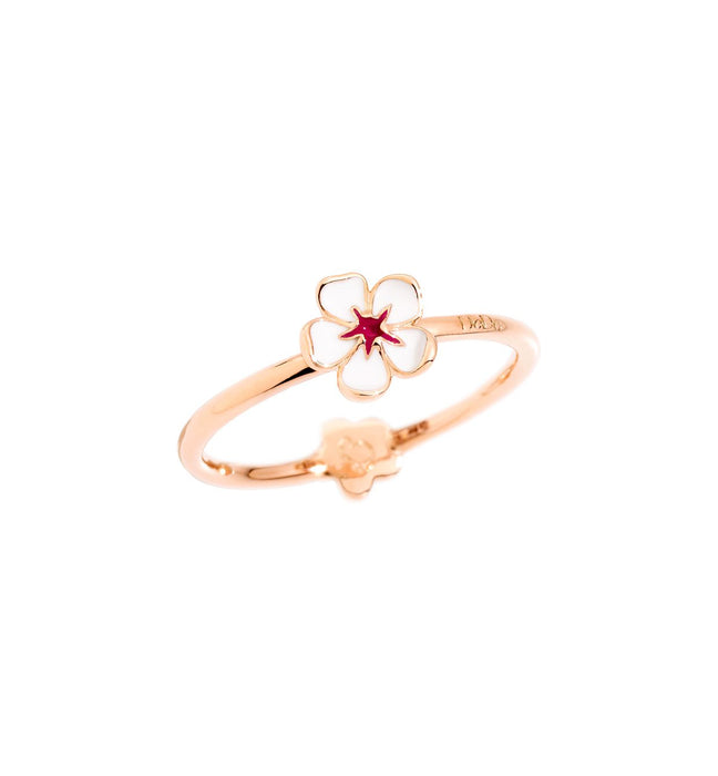 DoDo Ring Cherry Blossom in 9k Rose Gold with White Enamel