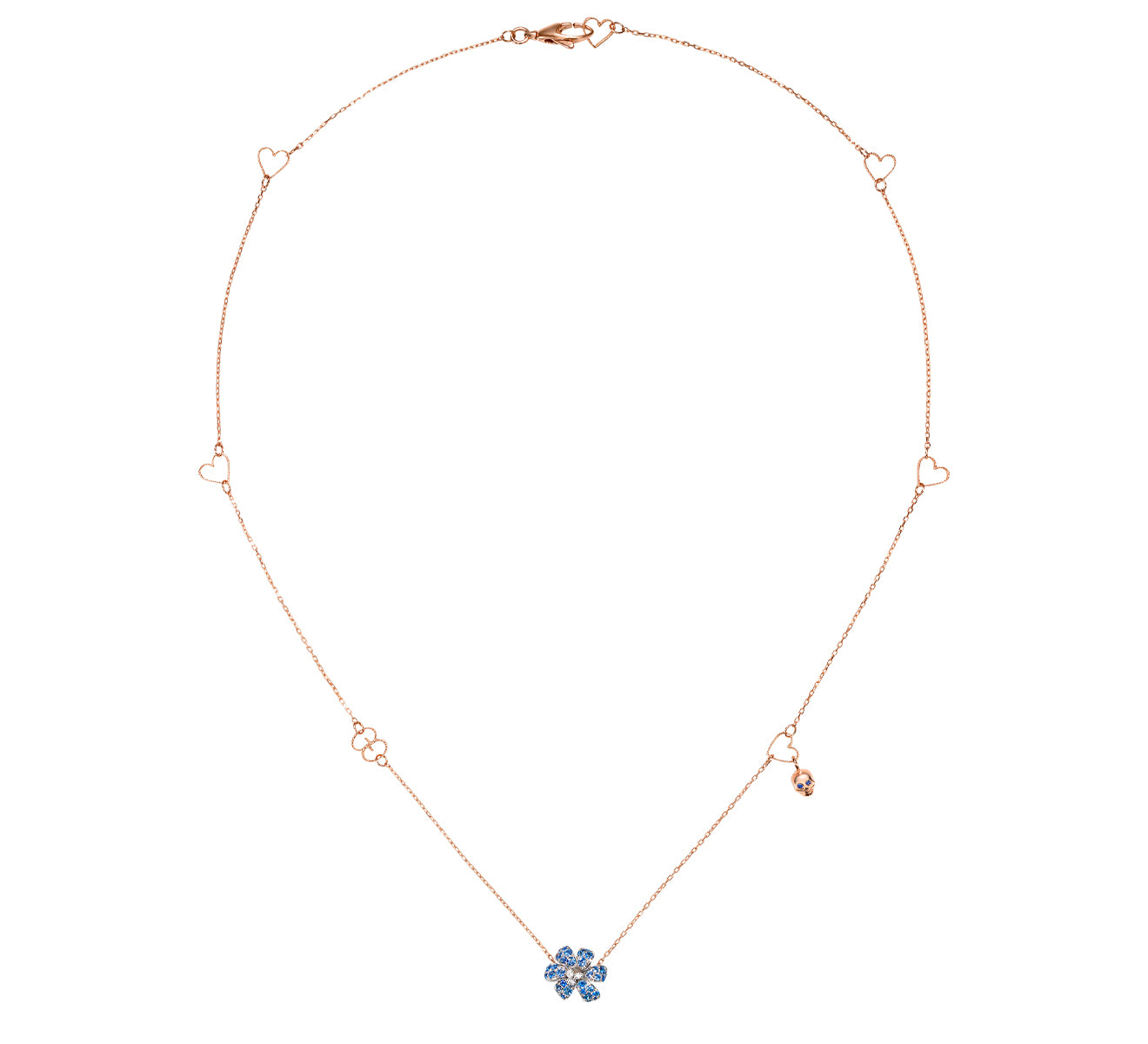 Gucci Flora Necklace in 18k Rose and White Gold with Blue Sapphires - Orsini Jewellers NZ