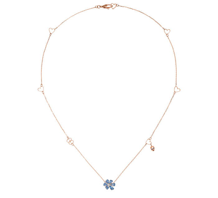 Gucci Flora Necklace in 18k Rose and White Gold with Blue Sapphires