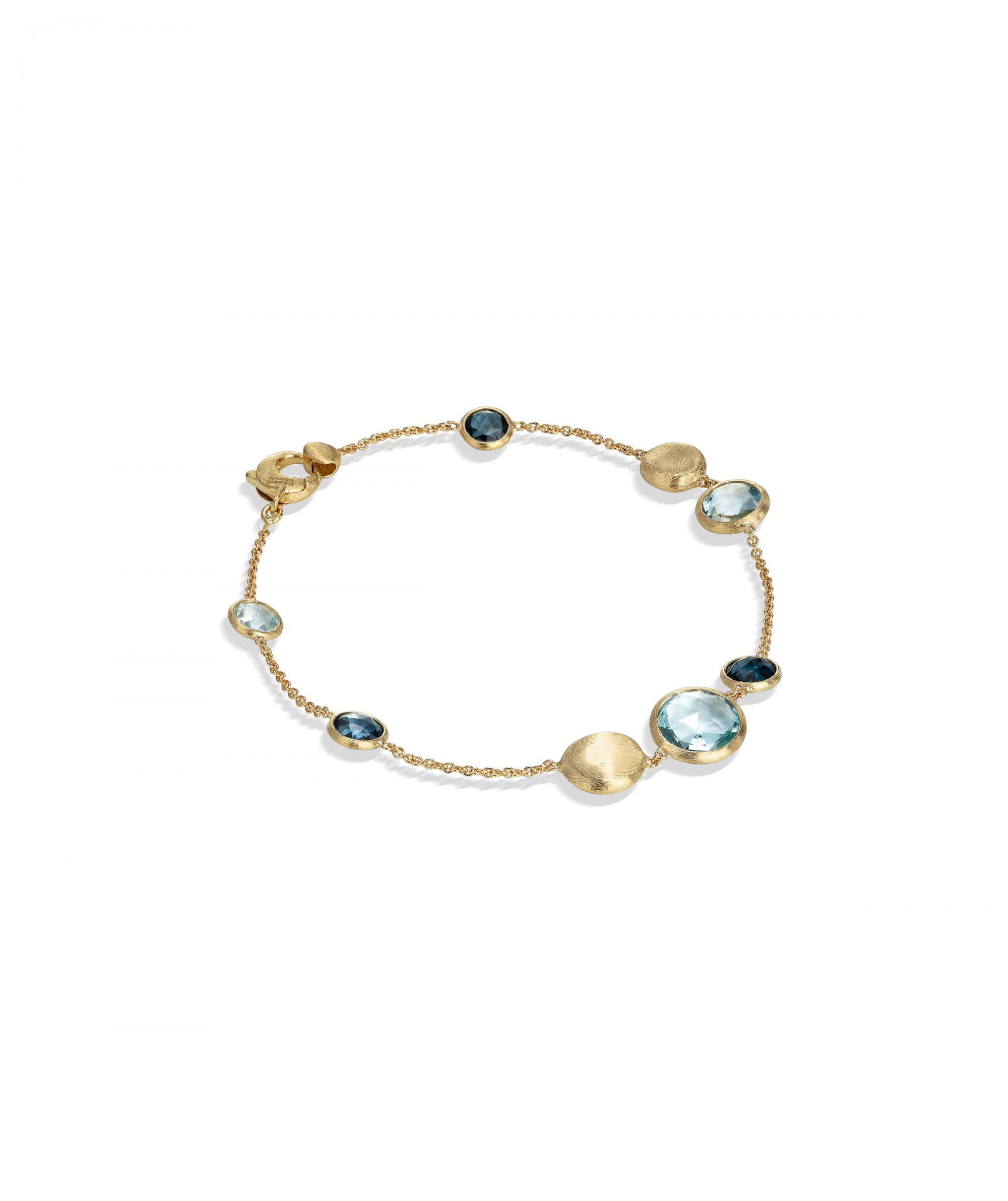 Jaipur Colour Bracelet in 18k Yellow Gold with Gemstones Mixed Blue
