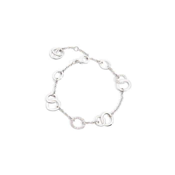Brera Bracelet in 18k Rhodium-plated White Gold with Diamonds