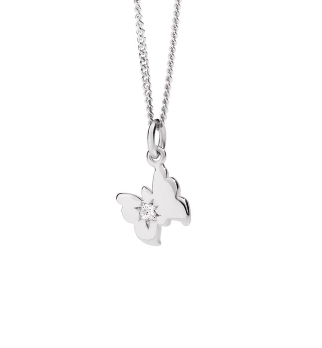 DoDo Petit Butterfly Necklace in 18k White Gold with Diamond