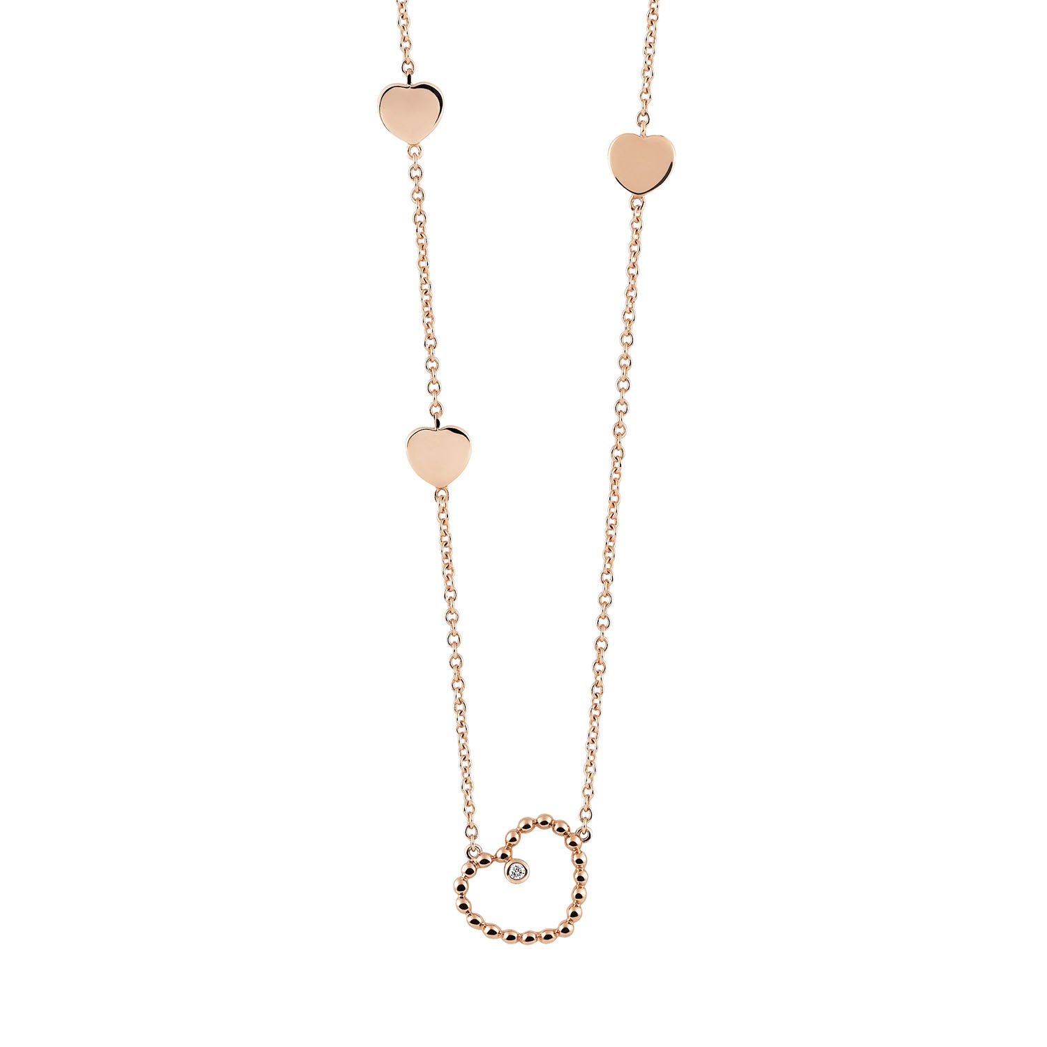 Palladio Heart Necklace in 18k Rose Gold with Diamond - Orsini Jewellers NZ