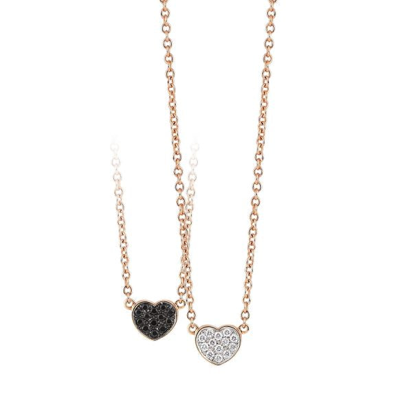 Palladio Heart Necklace in 18k Rose Gold with Diamonds and Black Sapphires