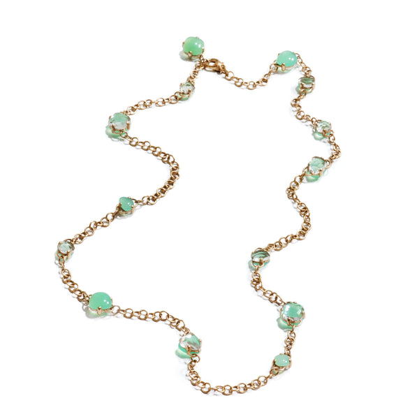 Capri Necklace in Matt Rose Gold with Chrysoprase and Rock Crystal